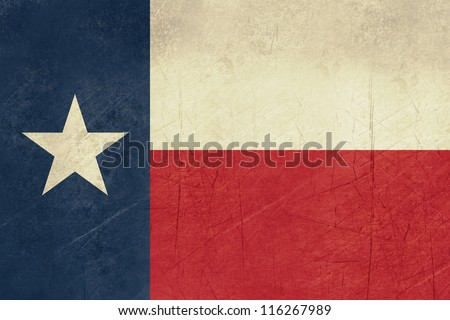 Grunge Texas state flag of America, isolated on white background. - stock photo