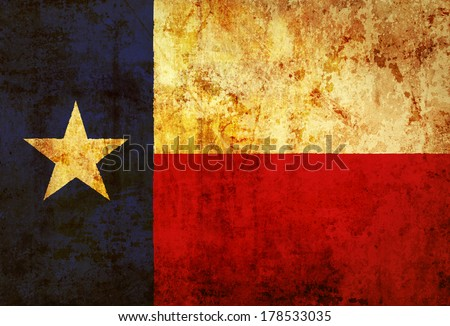 Grunge Texas state Flag on a grunge paper  - stock photo