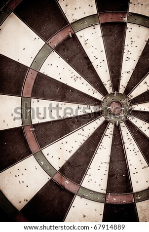 Grunge Texture Background of a Dart Board - stock photo