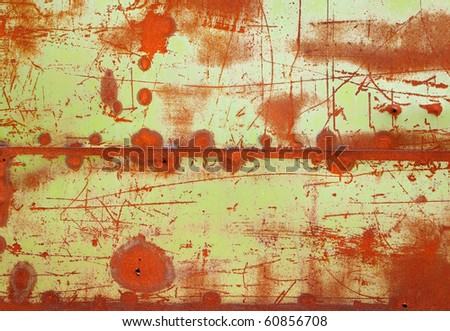 Grunge texture of old rusty metal with scratches and seam - stock photo