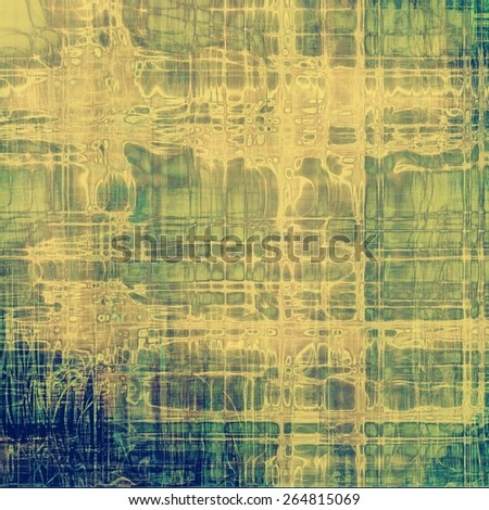 Grunge texture with decorative elements and different color patterns: yellow (beige); gray; green; blue - stock photo