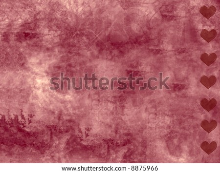 grunge texture with hearts - stock photo