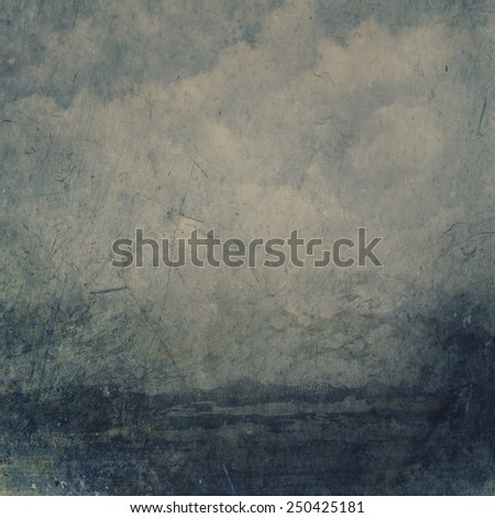 Grunge texture with sky and sea on canvas - stock photo