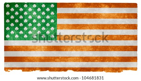 Grunge textured American style flag on vintage paper, with 50 shamrocks instead of stars. An open concept design which could symbolize Irish culture in the United States for example - stock photo