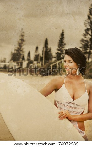 Grunge Textured And Vintage Surf Scene Of A Surfer Woman Looking Out To Sea While Holding A Surfboard - stock photo