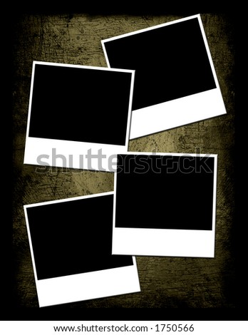 Grunge Textured background with 4 instant photo placements - stock photo