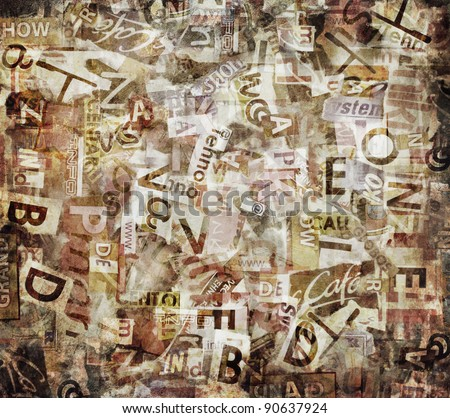 Grunge textured background with old torn newspapers - stock photo