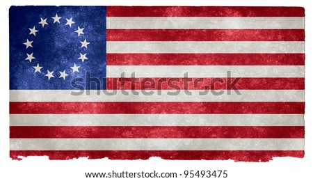 Grunge Textured Early American Flag on Vintage Paper (more specifically, the Betsy Ross flag in use from 1777 to 1795, with the 13 stars representing the first 13 US states) - stock photo