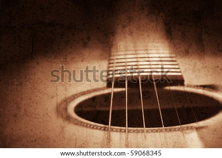 Grunge textured guitar background with space for your text - stock photo