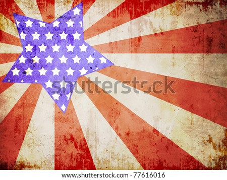 Grunge textured of USA flag - stock photo