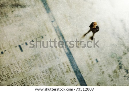 grunge textured picture with a businessman figurine on a magazine with equity prices