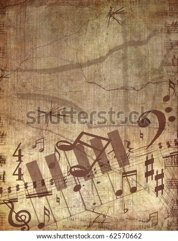 GRUNGE THE MUSICAL BACKGROUND - stock photo