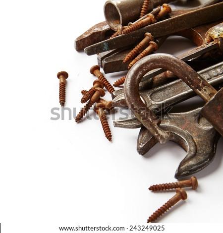 Grunge tools isolated on white background - stock photo
