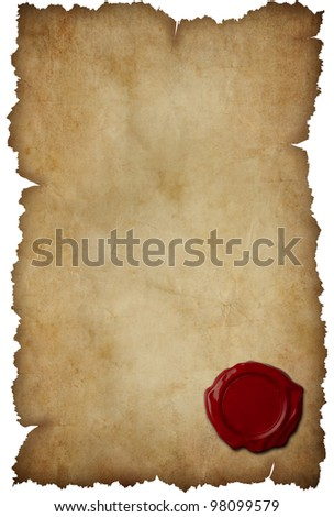Grunge torn paper with wax seal isolated on white - stock photo
