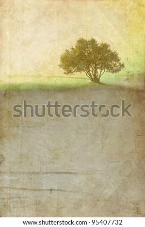Grunge tree background - stock photo