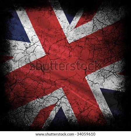 Grunge UK flag - stock photo