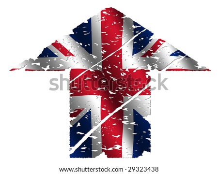 grunge upwards British flag arrow on white illustration - stock photo