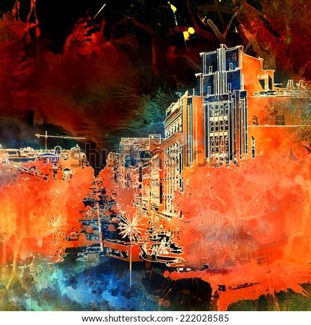 Grunge urban background - stock photo