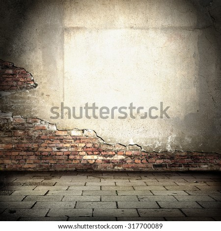 grunge urban background, plastered brick wall and pavement as tiled floor, empty room interior background - stock photo