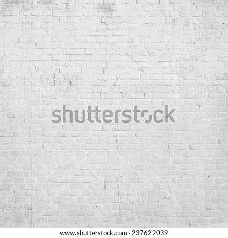 grunge urban background, white brick wall texture - stock photo