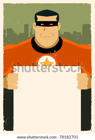 Grunge Urban Super Hero Ad Sign/ Illustration of a stylized super hero holding advertisement sign - stock photo