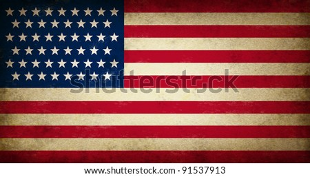 Grunge USA Flag as an old vintage American symbol of patriotism and culture on an antique textured United States of America government and elections icon created to support the constitution. - stock photo
