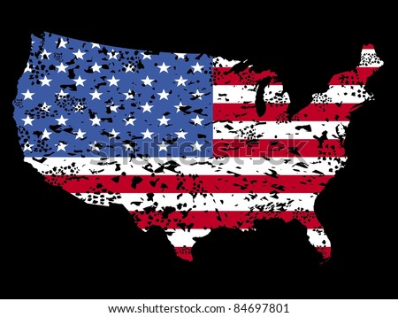 Grunge USA map flag on black illustration