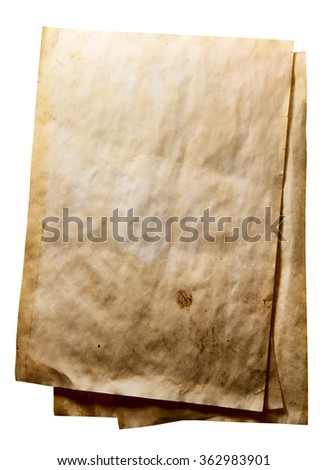 Grunge used paper background on white background
