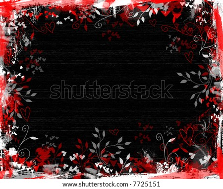 Grunge Valentine background on black texture with red, gray and white floral and heart elements