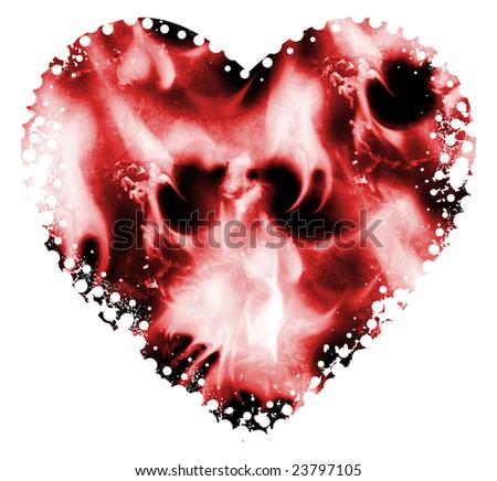 Grunge valentine heart background - stock photo