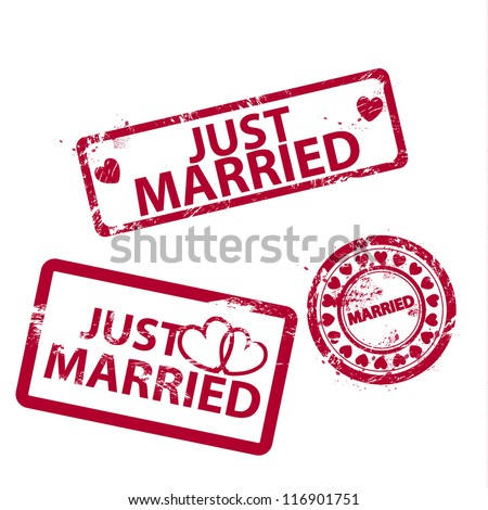 Grunge vector just married stamp - stock photo