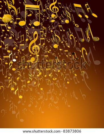 Grunge vector musical notes background for design use - stock photo