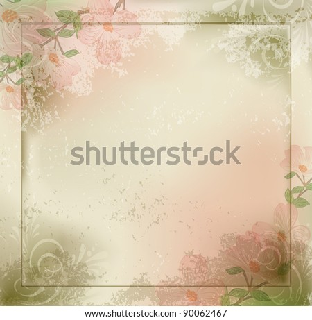 grunge, vintage background with flowers and a frame (JPEG version) - stock photo
