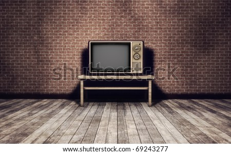 Grunge vintage interior background with old tv - stock photo