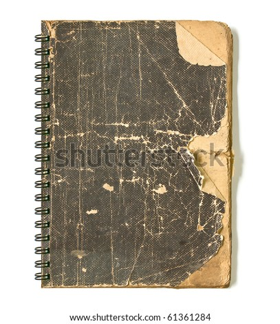 Grunge vintage old cover of notebook - stock photo