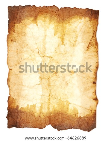 grunge vintage old paper on white background - stock photo