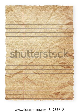 Grunge vintage spiral old brown paper isolated on white (save path for change the background for design work) - stock photo