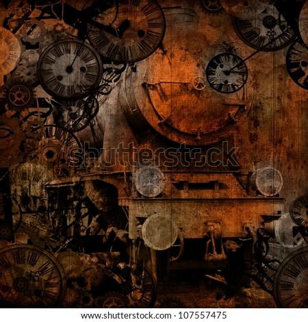 grunge vintage steam locomotive time machine background texture - stock photo