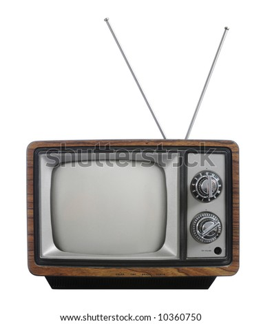 Grunge vintage television with antenna isolated on white