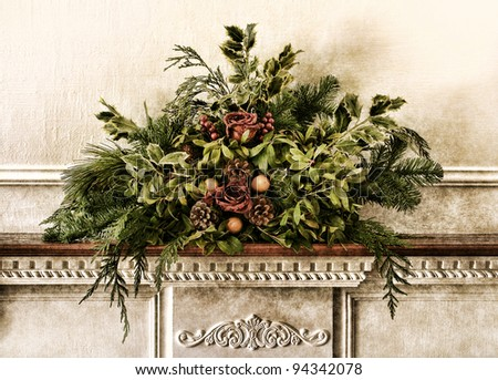 Grunge vintage Victorian Christmas floral arrangement decoration with roses and pine branches with green foliage on antique fireplace mantel in old historic home aged postcard style nostalgic colors - stock photo