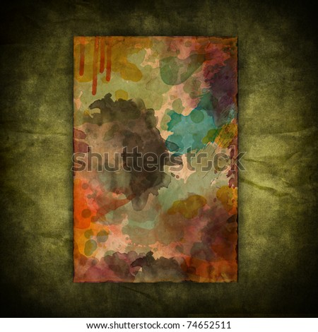 Grunge vintage watercolor paint paper on canvas texture background - stock photo