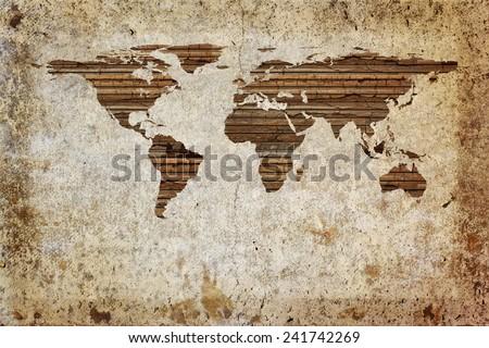 Grunge vintage wooden plank world map background. - stock photo