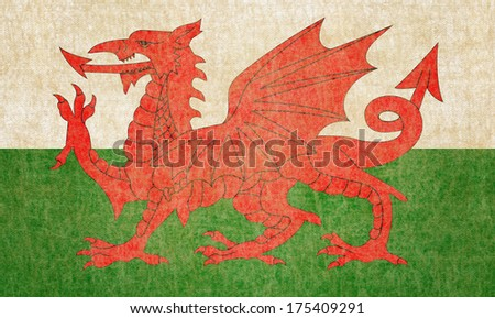 Grunge Wales Flag - stock photo
