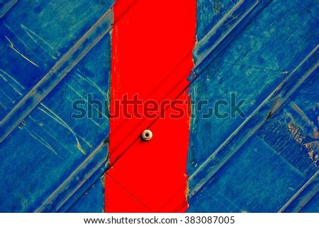 Grunge wall / Old blue metal wall detail / Wall texture - stock photo