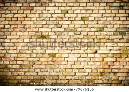 Grunge wall texture with small blocks - stock photo