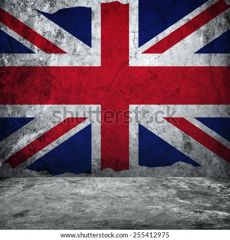 grunge wall with england flag  - stock photo