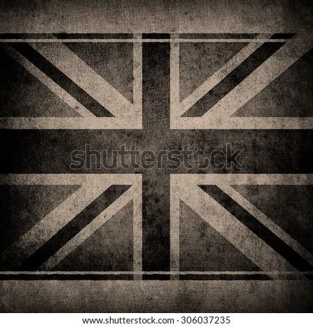 grunge wall with england flag  - stock photo