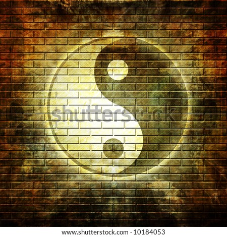 Grunge wall with graffiti yin yang symbol - stock photo