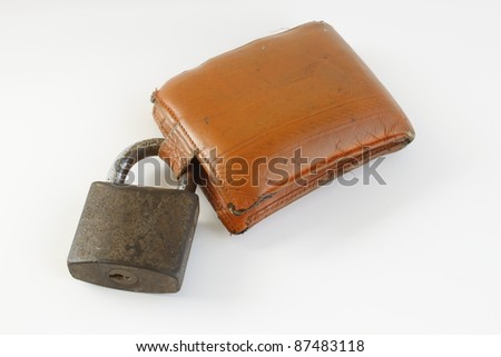 Grunge wallet and  lock isolated on white background,