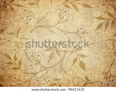 grunge wallpaper with floral pattern - stock photo